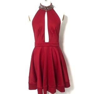 {BEBE} Red Jeweled Collar Halter Dress